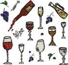 Grape,Red,Leaf,Wine,Set,Pouring,Corkscrew,Bunch,Decanter,Wineglass,Glass,Wine Bottle