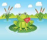Cattail,Frog,Love You,Amphibian,vector illustration,Toad,cartoon art,Water Lily,Vector,Valentine's Day - Holiday,Heart Shape,Love