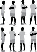 Shorts,Black And White,Shape,Computer Graphic,Full Length,One Person,Vertical,Vector Graphics,T-Shirt,Silhouette,Digitally Generated Image,Standing,Young Adult,Posing,People,Casual Clothing,360-degree View,Vector,Men,Multiple Image,Arms Crossed,Ilustration,Male,Adult