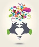 Imagination,Human Hand,Business,People,Symbol,Design Element,Design,Ideas,Creativity,Ilustration,Vector,Abstract,Light Bulb,Backgrounds,Computer Graphic,Multi Colored