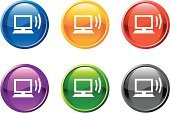 Computer Monitor,Symbol,PC,Computer Icon,Internet,Computer,Network Server,Computer Network,Node,Wireless Technology,Technology,Circle,Black Color,Communication,Green Color,Wired,Shiny,Interface Icons,Connection,Vector,Desktop PC,Downloading,Purple,Digitally Generated Image,Design,Ilustration,Red,Modern,Curve,Yellow,Sparse,White Background,Blue,Waveform Monitor
