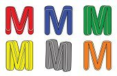 Paint,Set,Isolated,Three-dimensional Shape,Color Image,Vector,Alphabet,Letter M
