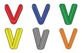 Paint,Set,Isolated,Three-dimensional Shape,Color Image,Letter V,Alphabet,Vector