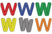 Paint,Set,Isolated,Three-dimensional Shape,Color Image,Vector,Alphabet,Letter W