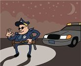 Police Car,Police Force,Headlight,Stopping,night sky,Uniform,Night,Badge