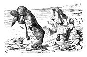 Alice in Wonderland,Old-fashioned,Fantasy,Victorian Style,Old,Styles,Manual Worker,Lewis Caroll,Living Organism,Mammal,Walrus,Carpenter,Image Created 19th Century,Aquatic Mammal,Animal,The Natural World,John Tenniel,19th Century Style,Non-Urban Scene,Ilustration,Engraved Image,Antique,Vertebrate,Fairy Tale