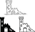 Castle,Group of Objects,Building Exterior,Sketch,Ilustration,Collection,Vector,Silhouette,stronghold,Isolated,Symbol,Gate,Old Ruin,Outline,Ruined,Fort,Black And White,Tower,Drawing - Art Product,Set,Architecture,Famous Place,White,History,Black Color,Ancient,Old,Cartoon