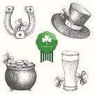 St. Patrick's Day,Clover,Engraving,Horseshoe,Ilustration,Set,Abstract,Collection,Drawing - Art Product,National Holiday,Republic of Ireland,Irish Culture,Cooking Pan,Springtime,Symbol,Celtic Culture,Vector,Saint,Hat,Happiness,Isolated,Holiday,Green Beer,Pencil Drawing,Old-fashioned,Leprechaun,Backgrounds,Decoration,Ink,Glass,Horse,Cultures,White,Gold,Pattern,Coin,Beer - Alcohol,Celtic Style,Luck,Shape,Computer Icon,Drawing - Activity,Design Element,Label,March,Green Color