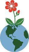 Earth Day,Earth,Planet - Space,Symbol,vector illustration,Flower,Environment,Single Flower,Vector,Environmental Conservation,Computer Icon,Nature