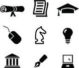 Mortar Board,Symbol,University,Diploma,Computer Icon,Graduation,Chess,Education,Icon Set,Fountain Pen,Learning,Horse,School Building,Vector,Architectural Column,Pen,Strategy,Light Bulb,Computer,Writing,Computer Mouse,Ilustration,Edu,Paper,Studying,Simplicity,Black And White,Cable,Elegance,Success,Ideas,Laptop,Achievement,Writing Instrument,Sparse,Letter,Note Pad,Facade,Design,Inspiration,Medium Group of Objects,White Background