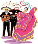 Mariachi Band,Streamer,Dancing,Cut Out,Men,Small Group Of People,Celebration,Women,Short Hair,Guitar,Performer,Confetti,Performing Arts Event,Multi Colored,Black Hair,Musician,People,Mustache,Low Angle View,Latin American and Hispanic Ethnicity,Full Length,Adult