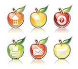 Apple - Fruit,Icon Set,Symbol,Telephone,Help,Residential Structure,Print,Mail,Send,Sea,Touching,Illustrations And Vector Art,Apple Shape,Received,Arranging,Turquoise