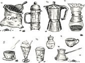 Engraved Image,Kitchen Utensil,Retro Revival,Etching,Cup,Coffee - Drink,Spoon,White,Milk,Black Color,Vector,Bag,Old,Tea - Hot Drink,Ilustration,Sketch,Paper,Set,Drink,Heat - Temperature,Latte,Merchandise,Ice Cream,American Culture,Bean,Glass,Espresso,Mug,Mocha,Caffeine,Group of Objects,Cafe Macchiato,Cappuccino,Bottle,Cafe,Store,Crockery,Cream,Shiny,Menu