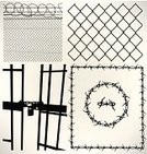 Barbed Wire,Prison Bars,Razor Wire,Vector,Law,Prison,Fence,Guilt,Protection,Padlock,Prison Cell,Frame,locked up,In Jail,Arrangement,Boundary,Silhouette,Pattern,Chain,Prison Cell Door,Chainlink Fence,Criminal,Set,Ilustration,Government,Group of Objects,Prison Sentence,Sentencing,Black And White,Collection
