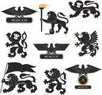 Lion - Feline,Standing,Wing,Eagle - Bird,Eagle ,Artificial Wing,Courage,Ilustration,Black Color,Old,Medieval,Claw,Wing,Set,Set,Setter - Athlete,Design,Flag,Silhouette,Bird,Vector,Animal,Design Professional,Decoration,Symbol,heraldic,1940-1980 Retro-Styled Imagery,Retro Revival,Acting,Stage Set,Collection,The Four Elements,Medieval Music