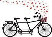 Bicycle,Two People,Tandem Bicycle,Silhouette,Cycling,Valentine's Day - Holiday,Isolated,Vehicle Seat,Heart Shape,Basket,Vector,Ilustration,Wheel,Love,Happiness,Teamwork,Travel,Red,Togetherness,Computer Graphic,Black Color,Partnership,Cycle,White,Single Object