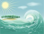 Wave,Sea,Surf,Splashing,Paint,Spray,Water,Ilustration,Nature,Blue,Ripple,Textured Effect,Transparent,Summer,Turquoise - Gemstone,Sunlight,Sun,Cloud - Sky,Cloudscape,Lifestyle,Concepts And Ideas,Time,White,Shiny,Turquoise,Composition,Shape