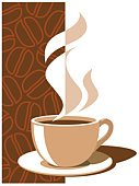Coffee - Drink,Coffee Cup,Cup,Vector,Steam,Hot Drink,Heat - Temperature,Ilustration,Drink,Brown,Creativity,Color Image,Painted Image,Concepts And Ideas,Time,Food And Drink,Objects/Equipment,White,No People,Beige,Dark,Liquid