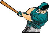 Baseball - Sport,Baseball Bat,Batting,Home Run,Vector,Human Muscle,Men,Sports Uniform,Ilustration,Winning,Sports Helmet,Muscular Build,Sports And Fitness,People,Illustrations And Vector Art,Scoring,handcarves,Isolated