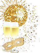 Disco Ball,Glass,Computer Graphic,Ilustration,Holiday,Ribbon,Invitation,Vector,Mask,Creativity,Party - Social Event,Wine,Soda,New Year's Eve,Wedding,Composition,Traveling Carnival,Carnival,Disco