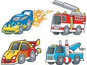 Fire Engine,Tow Truck,Racecar,Car,Sports Car,Truck,Rescue,Mode of Transport,Land Vehicle,Transportation,Clip Art,Vector,Ilustration,Tire,Isolated,Ladder,Art,Sports And Fitness,Illustrations And Vector Art,Isolated On White,hand drawn,Wheel