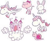 Unicorn,Pony,Castle,Fairy Tale,Domestic Cat,Cute,Pegasus,Horse,Rabbit - Animal,Snail,Vector,Pink Color,Femininity,Fantasy,Ilustration,Cloud - Sky,Clip Art,Mythology,Flying,Bow,Cloudscape,hand drawn,Wing,Imagination,graphic elements,Animals And Pets,Concepts And Ideas,Illustrations And Vector Art,Cats,Isolated On White
