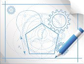 Stability,Bicycle Gear,Engineering,Abstract,Engineer,Pencil,Human Face,Design,engineering drawing,Profile View,Drafting,correct,Check Mark,Vector,technical drawing,Number 5,Pentagon,Gear,Circle