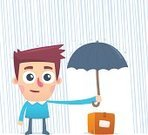 Umbrella,Cartoon,Animated Cartoon,Male Animal,Important,Male,Characters,Theater Box,Serious,Clip Art,Box - Container,Cargo Container,Savings,Male Atoll,Caricature,White,Package,Container,Isolated,Caucasian Ethnicity,Backgrounds,Cute,Holding,Fun,Ilustration