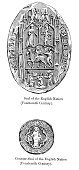 Seal - Stamp,Middle Ages,European Culture,Antique,Obsolete,Engraved Image,Great Seal,Old,Europe,Office Supply,UK,Black And White,British Culture,Woodcut,Circa 14th Century,Cultures,English Culture,England,Northern Europe,Symbol,Old-fashioned,The Past,Insignia,Print,Medieval,Styles,History,Ilustration