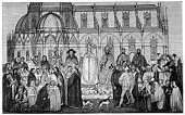 Archbishop,The Past,Bishop - Clergy,Medieval,Priest,Antique,Clergy,Obsolete,Engraved Image,Middle Ages,Mature Men,Religious Occupation,Tuscany,Old,Woodcut,Men,Male,Italy,Pope,Print,Circa 14th Century,Ilustration,Styles,History,Europe,Siena,Black And White,Old-fashioned,Southern Europe
