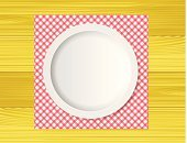 Directly Above,Food And Drink,Clean,Plate,Crockery,Tablecloth,Kitchen Utensil,Silverware,Colors,Red,Arranging,Kitchenware Department,No People,Checked,Circle,White,Multi Colored,Table