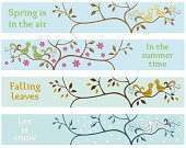 Springtime,Banner,Placard,Ornate,Tree,Winter,Four Seasons,Decoration,Bird,Season,Copy Space,Ilustration,Loving,Love,Falling,Cute,Backgrounds,Two Animals,Pink Color,Multi Colored,Green Color,Autumn,Simplicity,White,Couple,Sparse,Two Objects,Vector,Orange Color,Blue,Summer,Snowing,Sky,Sample Text,Leaf,Flower,Blank