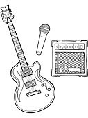 Amplifier,Guitar,Microphone,Vector,Modern Rock,Musical Equipment,Rock and Roll,Music,Clip Art,Musical Instrument String,Isolated,Singing,Arts And Entertainment,Illustrations And Vector Art,Music,String Instrument,Sound,Hand-drawn