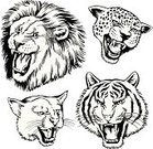 Lion - Feline,Roaring,Black And White,Jaguar,Mountain Lion,Animal Head,Africa,Animals In The Wild,Big Cat,Courage,Isolated,Contrasts,Old-fashioned,Design Element,Ilustration,Male Animal,Female Animal,Crouching,Rainforest,Clip Art,Drawing - Art Product,Animal,Leopard,Strength,Claw,Power,Vector,Retro Revival,Safari Animals,Walking,Standing,South America,Digitally Generated Image,Ink Drawing,Undomesticated Cat,Savannah,Carnivore,Wildlife
