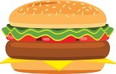 Hamburger,Vector,Large,Speed,Refreshment,Eating,Beef,Food And Drink,Snack,Seed,Classic,Bun,Clip Art,Bread,Meat,Grilled,Lunch,Lettuce,Food,Meal,Burger,Gourmet,Cheeseburger,Ilustration,Sesame,Fat,Freshness,Dinner,Cheese,Salad,Vegetable,White,Tomato,Single Object