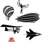 Airplane,Flying,Development,Progress,Ancient,History,Set,Retro Revival,Icarus,Hot Air Balloon,Propeller,Machinery,Futuristic,Engineering,Merger,Silhouette,Electricity,Sign,Machine Part,Black Color,Industry,Electro Pop,Air Vehicle,Air,Wing,Isolated,Technology,Men,Biplane,Symbol,Vector,Clip Art,Computer Graphic,Action,Antique,The Past,Computer Icon,Design,aerostat,Collection,Old,Blimp,Jet - Band,reactive
