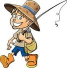 Fishing,Characters,Hobbies,Little Boys,People,Child,Fishing Rod,Fish,Passion,Caucasian Ethnicity,Smiling,Young Adult,Humor,Boot,Occupation,Isolated,Ilustration,Catch of Fish,Fisherman,personage,Teenage Boys,Fishing Bait,Rod,Cartoon,Spool