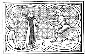 Demon,Wizard,Wealth,exorcist,Holiday,Middle Ages,Paranormal,History,Magician,Clergy,Styles,Obsolete,Event,Religious Celebration,possessed,Engraved Image,Old,Religious Event,Antique,Speculative Being,Religious Occupation,Celebration Event,Priest,Black And White,Monk - Religious Occupation,Old-fashioned,Demonic Possession,exorcism,Devil,Medieval,Print,Circa 13th Century,Woodcut,Ilustration,The Past