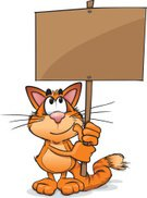 Domestic Cat,Poster,Cartoon,Paw,Pets,Assistance,Sign,Vector,Fluffy,Ilustration,Information Medium,Coat,Fur Coat,Blackboard,Ginger Cat,Brown,Showing,Cheerful,Fur,Data,Orange Color,Happiness,Message,Standing,Holding,Cute