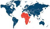 continent,Map,Cartography,Africa,World Map,vector illustration,Blue,Travel Location,Travel,Vector,Business Travel,Red
