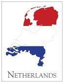 Map,Netherlands,Cartography,Europe,Isolated On White,Text,Flag,Ilustration,Vector,No People,Color Image,Dutch Flag