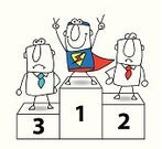 Superhero,Cartoon,Heroes,Competition,Comedian,Characters,Concepts,Ideas,Winning,Rivalry,Success,Tie,Office Interior,Boss And Employee,business team,First Place,Rabbit Ears,Winners Podium,Two Fingers,Hand Sign,Leadership,Challenge,Business,Business Person,Drawing - Art Product,Team,Victory,Small Group Of People,Men,Businessman,Group Of People,Success Story,Conquering Adversity,Teamwork,Manager,Podium,Superman - Superhero