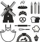 Brick Oven,Bakery,Oven,Symbol,Bread,Pretzel,Wire Whisk,Chef's Hat,Apron,Loaf of Bread,Cupcake,Baking,Baked,Black Color,Flour Mill,Computer Icon,Computer Graphic,Vector,Wheat,Mill,Sweet Food,Design,Rolling Pin,Ilustration,Design Element,Pastry,Old,Set,Croissant,Food,Cooking,Store