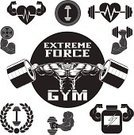 Body Building,Vector,Men,Sign,Sport,Curly Hair,Business,Plate,Strength,Dumbbell,Symbol,Badge,Ilustration,Insignia,Collection,Label,Picking Up