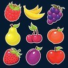 Pruning,Apple - Fruit,Strawberry,Pear,Peach,Icon Set,Plum,Fruit,Cherry,Vector,Ilustration,Raspberry,Grape,Banana