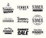 Seal - Stamp,Summer,Group of Objects,Ilustration,Anchor,Holiday,White Background,Isolated,Icon Set,Symbol,Postcard,Vector,Backgrounds,Sunset,Design,Set,Isolated On White,Black And White,Vacations,White,Black Color,Tropical Climate,Label
