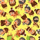 Macho,Men,Ilustration,Primitivism,Vector,Backdrop,Decor,Decoration,Leopard,Neanderthal,Barbarian,Cute,Beard,People,Cave,Facial Mask - Beauty Product,Pattern,The Past,Wrapping Paper,Fun,Backgrounds,Strength,loveable