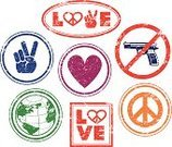 Symbols Of Peace,Peace Sign,Peace On Earth,Earth,Love,Rubber Stamp,Heart Shape,Shotgun,Gun