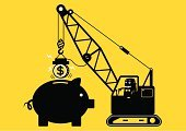 Stealing,Piggy Bank,Yellow,Crane - Construction Machinery,Magnet,Finance,Senior Adult,Driving,Savings,Strategy,Business,Intelligence,Picking Up,Driver,Wealth,Coin,Pulling,Currency,Cartoon,Coin Bank,Token,Ilustration,Financial Occupation,Men,Banking,Businessman,Vector,Operator,Loan,Clip Art,Success,Concepts,Black Color,Investment,Computer Graphic