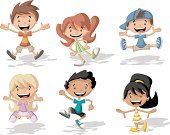 Team,People,Friendship,Humor,Happiness,Individuality,Human Body Part,Human Face,Blond Hair,Brown Hair,Redhead,Jumping,Family,Multi Colored,Child,Teenager,Adult,Illustration,Cartoon,Men,Boys,Women,Girls,Vector,Student,Characters,Schoolboy,Schoolgirl